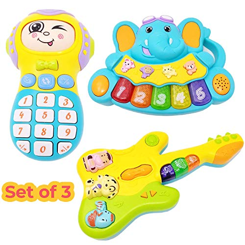 Kiddale 3-in-1 Baby(3 months-24 Months) and Toddler Musical Toy- Piano, Guitar, Interactive Mobile Phone – Multicolor