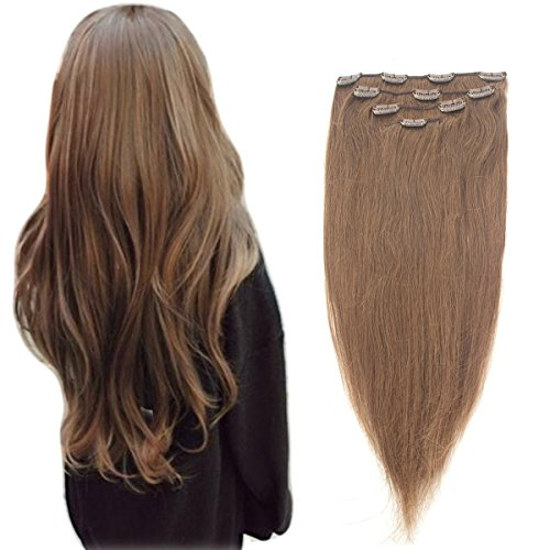 Price comparison product image 100% Remy Thick Clip in Human Hair Extensions 4PCS 10 Clips colors Natural Hair