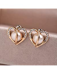 OPPOHERE Ear Jewelry Rose Gold Hollow Heart Pearl Earrings Women 1Pair