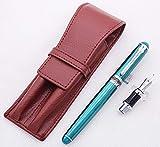 Duke Green Fountain Pen Fude Pen Nib Interchangeable Calligraphy broad Pen Coffee Leather Pen Case Set
