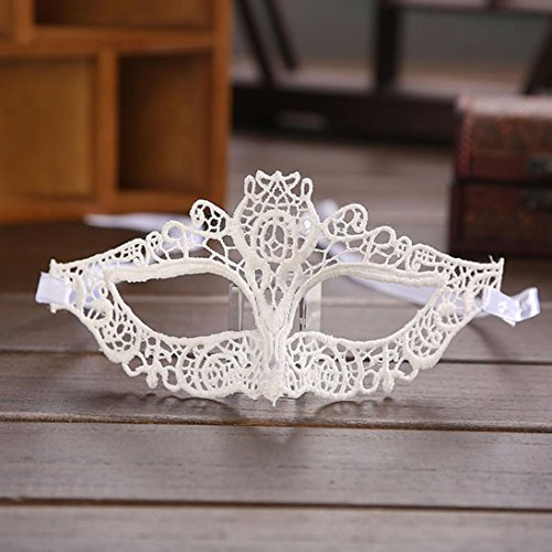 Botrong Halloween Masquerade Sexy Lady Black White Lace Mask Hollow Out Catwoman (A) ()