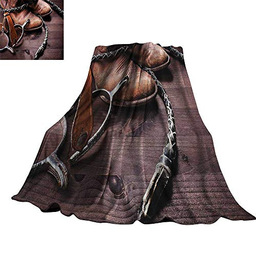 Western Decor Blanket Sheets Authentic Old Leather Boots and Spurs Rustic Rodeo Equipment USA Style Art Picture 60