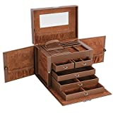 SONGMICS Brown Jewelry Box Faux Leather Storage Organizer with Mini Travel Case and Lock UJBC05Z