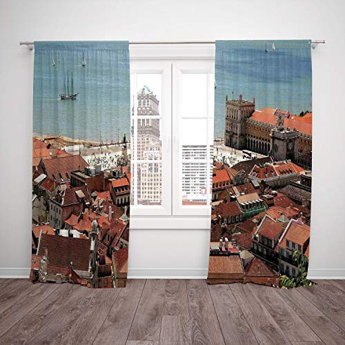 SCOCICI Satin Window Drapes Kitchen Curtains [ Cityscape,View Central Lisbon Portugal Rooftops Sea Old Town Nostalgic City Deco,Multi] Bedroom Living Room Dorm Kitchen Cafe ()
