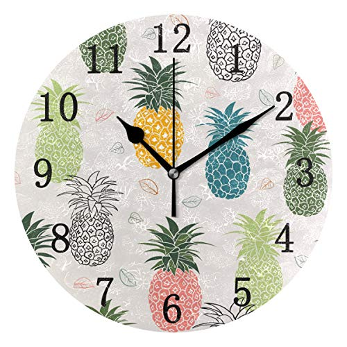 (DOMIKING Oil Painting Design Round Wall Clock, Silent Non Ticking Home Office Decorative Art Clock Colorful Pineapple Pattern)