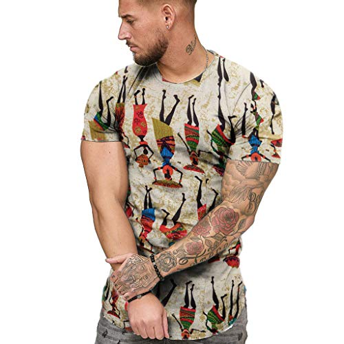 MmNote mens clothes clearance sale Fashion Mens Summer Slim Casual African Print O-Neck Fit Short Sleeve Top Blouse