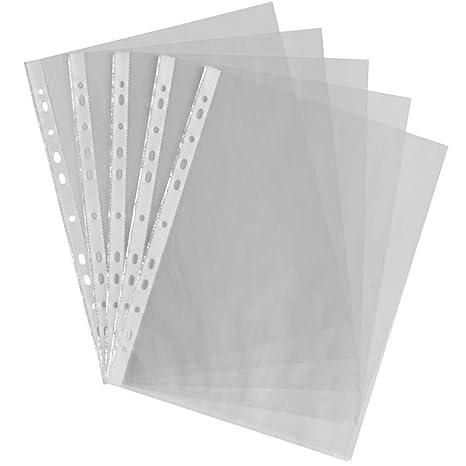 Fundas A4 de plástico transparente Gemlady, 100 unidades, perforadas, para guardar documentos,