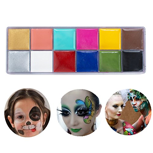 Pevor Party Makeup Face Painting Body Painting Oil Painting For Kids Face Painting Doodle Dress Up Joker Face In Halloween Party Birthday Party 12 Color Pigment Oil Painting Cosmetic Tools -