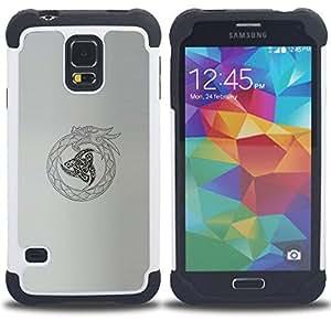 - tribal Viking oroboros snake dragon - - Doble capa caja de la armadura Defender FOR Samsung Galaxy S5 I9600 G9009 G9008V RetroCandy