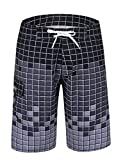 Unitop Men's Fashional Checkered Print Beach Bathing Shorts with Drawstrings Grid Gray-38