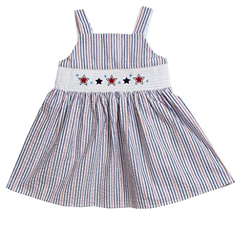 Good Lad Toddler Girls Seersucker Smocked July 4th Sundress (2T) - Smocked Girls Sundress