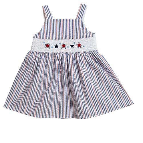 Seersucker Sundress - Good Lad Toddler Girls Seersucker Smocked July 4th Sundress (3T) Navy