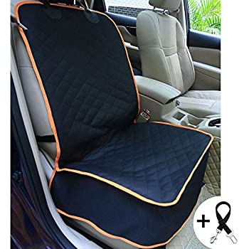 Amochien Dog Front Car Seat Cover Waterproof Scratch Proof Nonslip Rubber Backing With Anchors Quilted Padded Machine Washable Pet