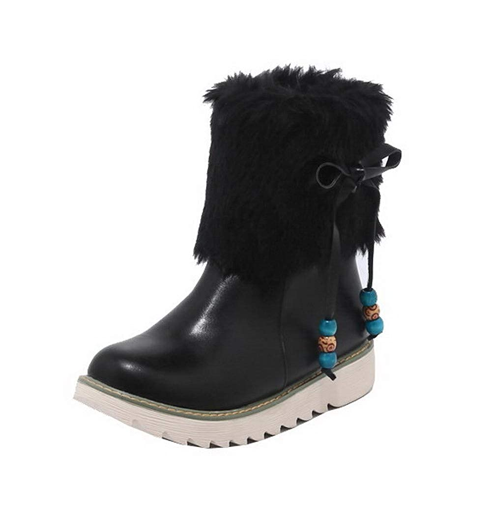AalarDom Womens Pu Closed-Toe Solid Low-Top Low-Heels Boots TSDXH016428