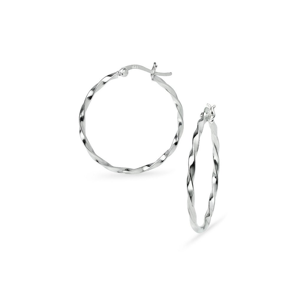 Sterling Silver High Polished Medium Twist Round Click-Top Hoop Earrings 2mm x 30mm Four Colors