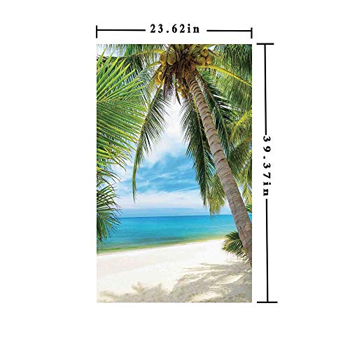 No Glue Static Cling Window Film Decorate by Shadow Shade of a Coconut Palm Tree on White Sand,W15.7xL63in,Privacy Decorative Glass Film with