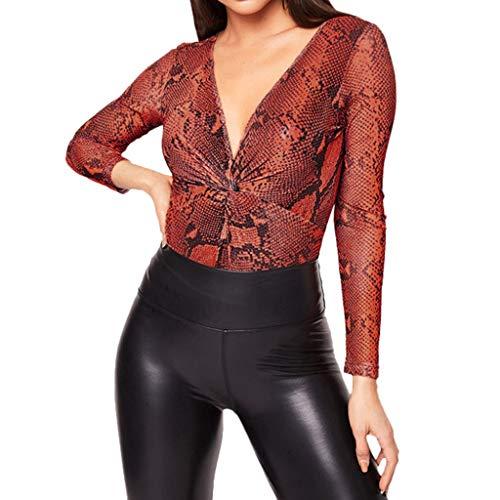 DONTAL Women Lady's Sexy Dark V Neck Full Sleeve Snack Printed Bikini Jumpsuit Ladies Tops Brown