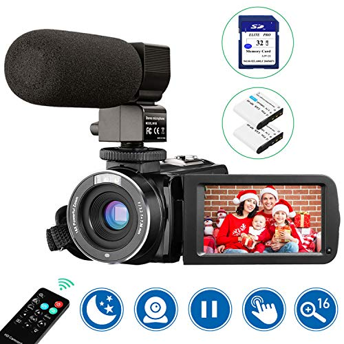 "Video Camera Camcorder with Microphone, Aasonida FHD 1080P 30FPS 24MP IR Night Vision Digital 3"" IPS Touch Screen Digital YouTube Vlogging Camera with Remote Control, 32GB SD Card, 16X Digital Zoom"