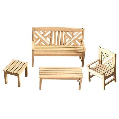 Regalo Muebles De Jardin.Healifty 4 Unids Muebles De Casa De Munecas De Madera Mini