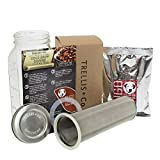 T&Co. Cold Brew Coffee Maker Kit with 64 Oz Mason Jar, Stainless Steel Filter & Lid, Coffee – 80 Micron Woven Filter, Lid & Gaskets, Instructions – Cold Brewed Coffee/Iced Tea Kit