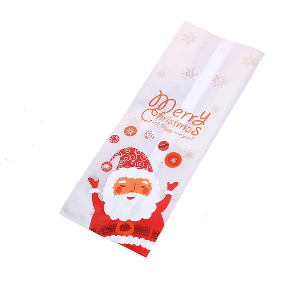 BulzEU 50 Pack Large Christmas Cellophane Party Bags - Xmas Santa Cello Bags Sweet Display Bags Party Gift Bags for Candy Sweets & Treats Cookie Biscuit