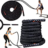 Battle Ropes with Anchor Strap Kit -100% PolyDac Heavy Battle Rope - Perfect Exercise Rope for Men and Women - 30ft Total Body Workout Rope
