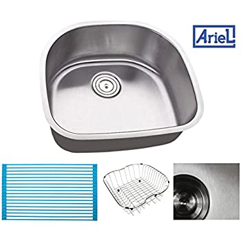 Ariel Pearl 23 Inch Premium 16 Gauge Stainless Steel Undermount Single D  Bowl Kitchen Sink