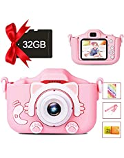 Kids Camera Digital Dual Camera, Toys Gift for 3-8 Years Old Kids, Video Recorder Anti-Drop Cartoon Camera with 2 Inch IPS Screen & 32GB SD Card Pink LEAMBE
