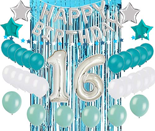 Sweet 16 Parties (Sweet 16 Sixteenth 16th Birthday Decorations Turquoise Blue Party Balloons Supplies 32