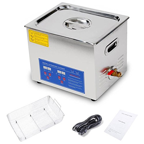 10L / 2.6 Gallon Ultrasonic Cleaner with Stainless Steel Basket 240W Cleaning Power + Heater with Digital Timer Industrial Parts Carb Carburetor Silver Brass by ANGEL POS
