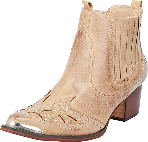 Cambridge Select Women's Western Cowboy Pointed Toe Crystal Rhinestone Block Heel Ankle Boot,5.5 B(M) US,Taupe PU