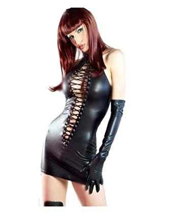dcd109fc9 Fashion Queen Women s Wet Look Clubwear PVC Leather Black Lace up Fancy  Mini Dress with Gloves