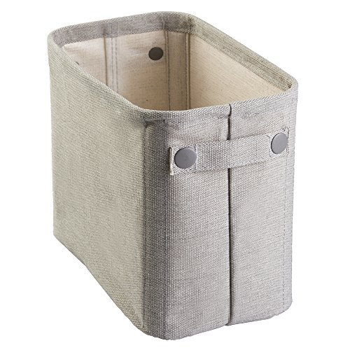 - InterDesign Wren Cotton Fabric Bathroom Storage Bin for Magazines, Toilet Paper, Bath Towels - Large, Light Gray