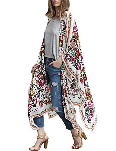 Womens Cover ups for Swimwear Long Maxi Dress Chiffon Kimono Robe Floral L (Floral Print Wrap Robe)