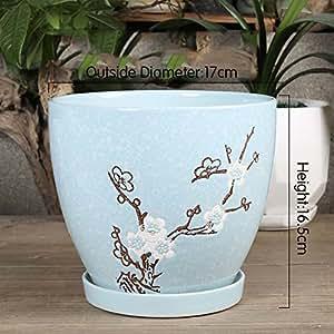 Macetero de cerámica con diseño de flor de vidrio, ideal para cualquier casa