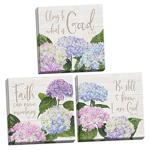 Roaring Brook Lovely Hydrangea Be Still & Know I Am God, Cling to What is Good and Faith Can Move Mountains Set; Religious Decor ; Three 12x12in Hand-Stretched Canvases