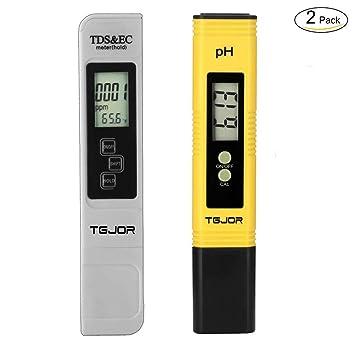 TGJOR Tester Calidad Agua TDS Ph EC Temperatura 4 in 1 Set/Digital Medidor Portabile/Auto-calibrazione y Compensación automática Temperatura retroiluminada: ...