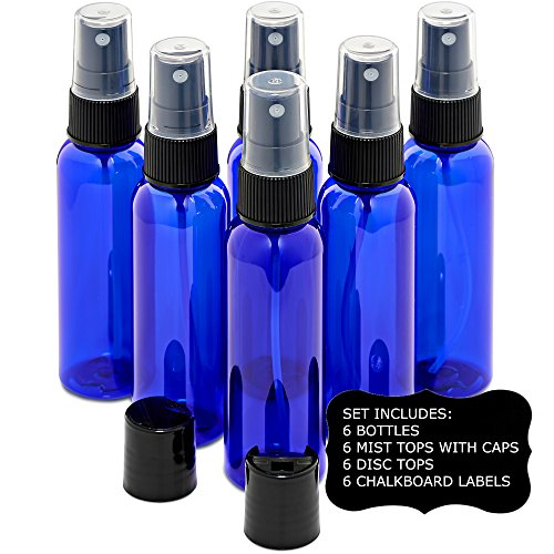 Cobalt Blue 2 Ounce PET (Plastic) Bottles Refillable Set of 6 with 6 Black Mister Spray Caps Plus 6 Disc-Tops and 6 Chalkboard Stickers for Essential Oils (EO), Home and Beauty Products.