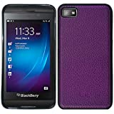 Purple Leather HyBrid Rubber Soft Skin Hard Case Cover For Blackberry Laguna Z10 with Free Pouch