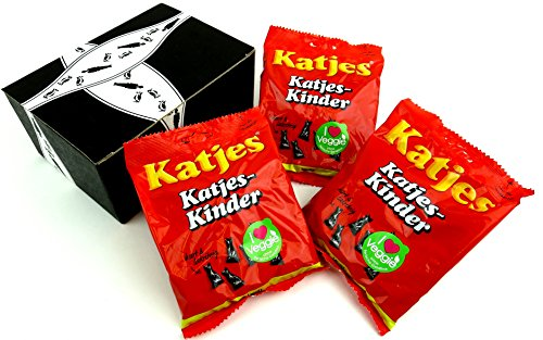 Licorice Katjes (Katjes-Kinder Licorice Cats, 7.05 oz Bags in a BlackTie Box (Pack of 3))