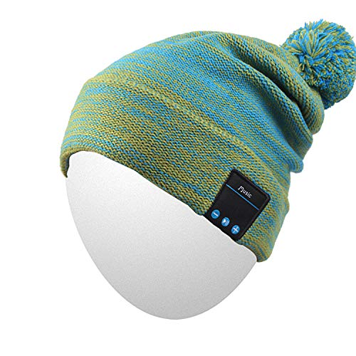 Qshell Bluetooth Beanie Hat Washable Music Cap with Wireless Stereo Headphone Headset Earphone Speakers Mic Hands Free for Outdoor Sports Skiing Running Skating Camping,Christmas Gifts- Green