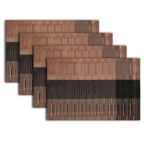 511EtnVAX L - PVC Placemats, Stitching Stain Resistant Eat Mat Weaving Art for Table Heat Crossweave Woven Vinyl Insulation Non-slip Placemat set of 4 Piece