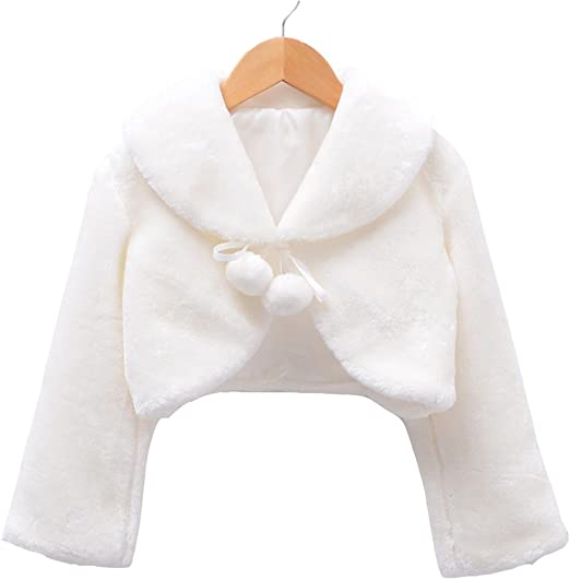 Child Girl Faux Fur Princess Bridesmaid Shrug//Wedding Bolero//Cape Coat//Jacket