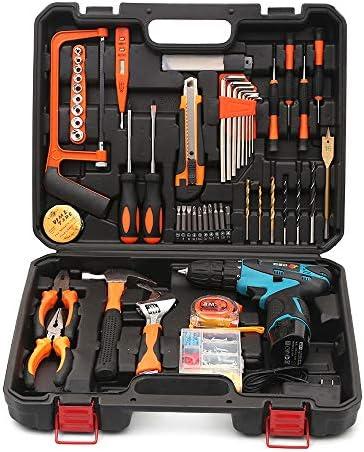 コードレスドリル&ホームツールキット、リチウムイオンバッテリードライバー、一般家庭用工具セット(収納ツールボックス付き)