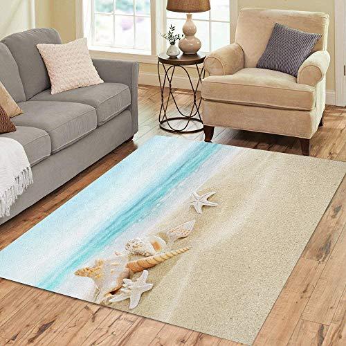 Sand 3x5 Area - Pinbeam Area Rug Blue Sand Shells on Sandy Beach Summer Sea Home Decor Floor Rug 3' x 5' Carpet