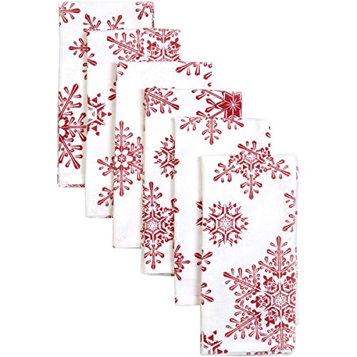 VHC Brands Christmas Holiday Tabletop & Kitchen-Snowflake White Napkin Set of 6, Red by VHC Brands