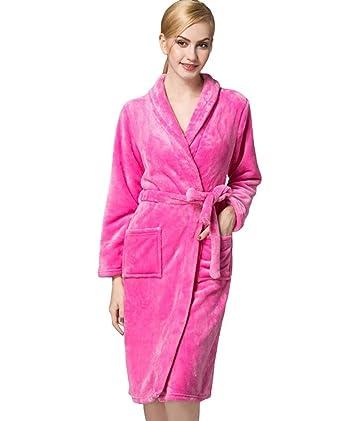 Albornoz Mujer Otoño Invierno Suave Coral Fleece Fashion Elegantes Especial Estilo Batas Color Sólido Pijamas Mujer Manga Larga V-Cuello con Bolsillos ...