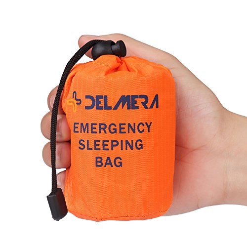 Delmera Emergency Survival Sleeping Bag, Lightweight Waterproof Thermal Emergency Blanket, Bivy Sack with Portable Drawstring Bag for Outdoor Adventure, Camping, Hiking, Orange (Orange-one pack)