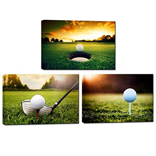 (LevvArts - Golf Canvas Wall Art Modern Leisure Sports Canvas Art Wall Decals Sunset Landscape Canvas Prints Set of 3 Contemporary Living Room Office Decoration,Easy Hanging)