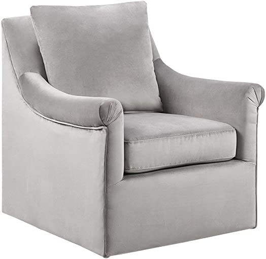 Madison Park Deanna Swivel Chair – Solid Wood, Plywood, Metal Base Accent Armchair Modern Classic Style Family Room Sofa Furniture, Grey